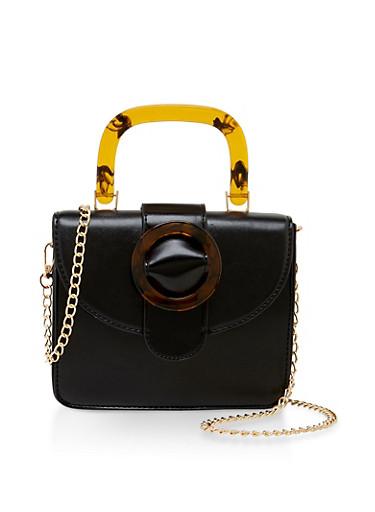 Mini Chain Strap Crossbody Bag,BLACK,large