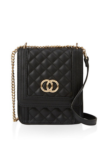 Quilted Chain Crossbody Bag,BLACK,large
