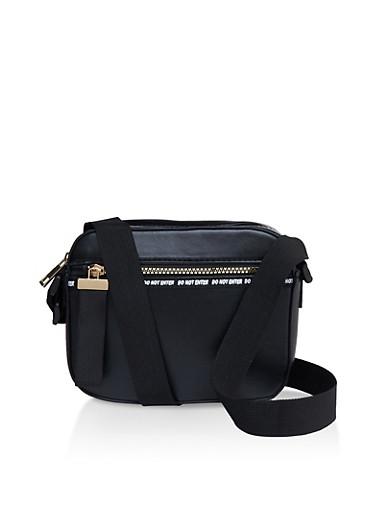 Do Not Enter Graphic Tape Crossbody Bag,BLACK,large