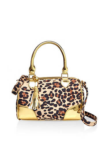 Leopard Print Crossbody Bowler Bag,GOLD,large
