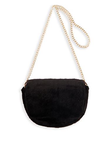 Faux Fur Chain Strap Crossbody Bag,BLACK,large