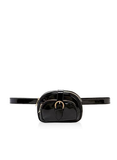 Double Zip Buckle Belt Bag,BLACK,large