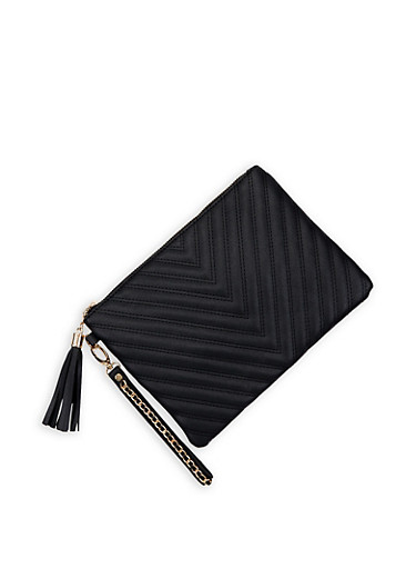 Chevron Quilted Clutch,BLACK,large
