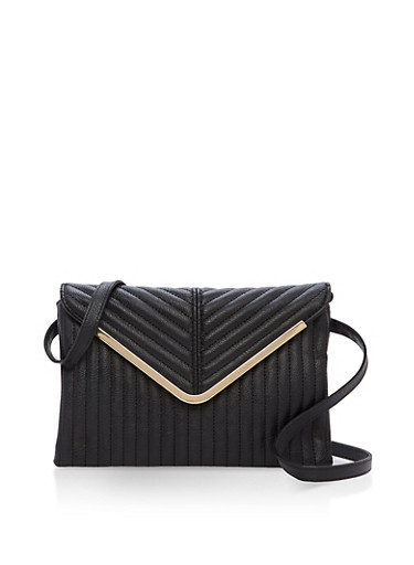 Quilted Faux Leather Envelope Bag,BLACK,large