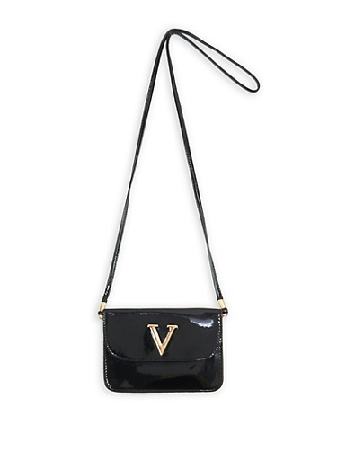 Faux Patent Leather Crossbody Bag | Tuggl