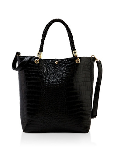 Snake Embossed Tote Bag,BLACK,large