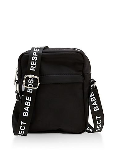 Graphic Tape Strap Crossbody Bag,BLACK/WHITE,large