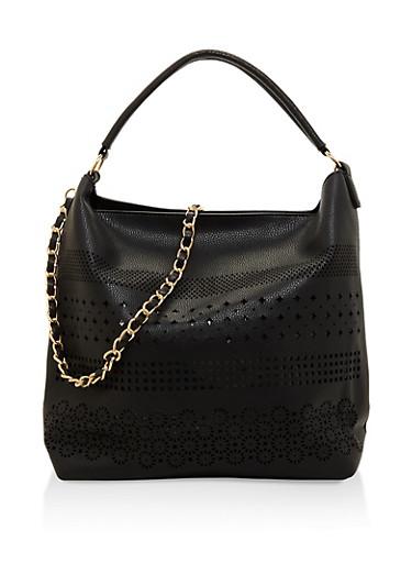 Laser Cut Faux Leather Hobo Bag,BLACK,large