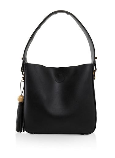 Faux Leather Hobo Bag,BLACK,large