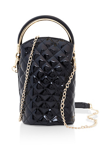 Faux Patent Leather Quilted Bucket Bag,BLACK,large