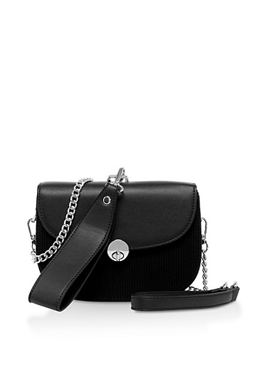 Ribbed Crossbody Bag,BLACK,large