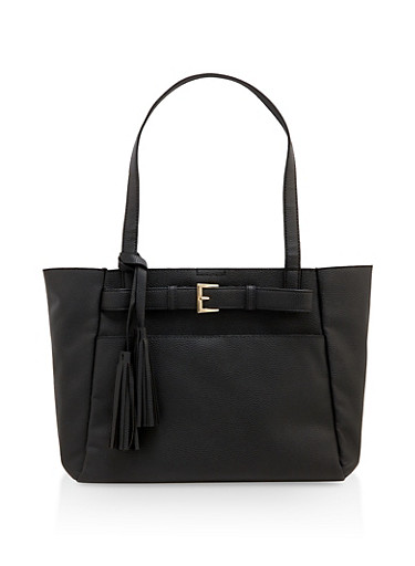 Belted Shopper Tote Bag,BLACK,large