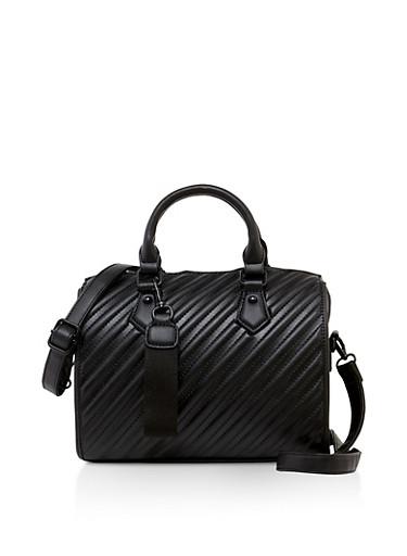 Embossed Handbag,BLACK,large