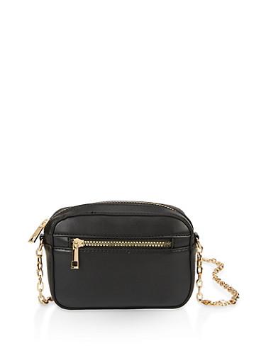 Box Chain Crossbody Bag,BLACK,large