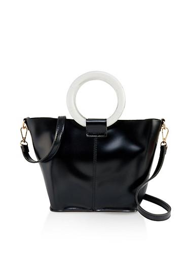 O Ring Bucket Bag,BLACK/WHITE,large