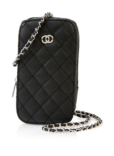 Quilted Rectangular Crossbody Bag,BLACK,large