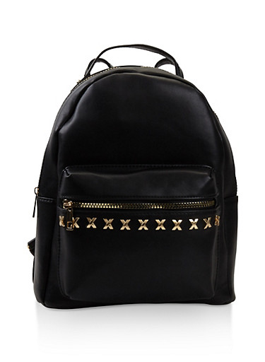 Studded Faux Leather Backpack,BLACK,large