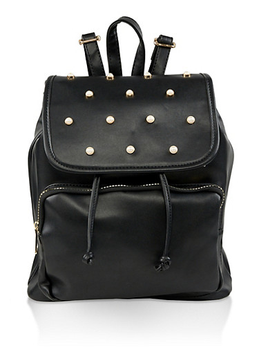 Faux Pearl Studded Backpack,BLACK,large