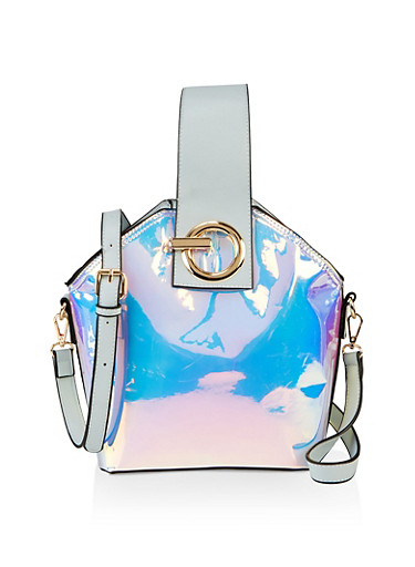 Oversized Iridescent Bucket Bag,SILVER,large