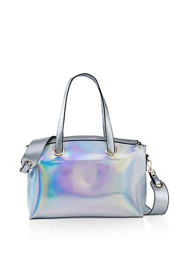 Holographic Bowler Bag,SILVER,large