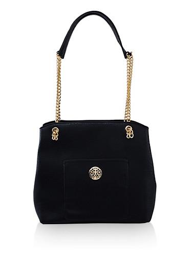 Chain Strap Faux Leather Shopper Bag,BLACK,large