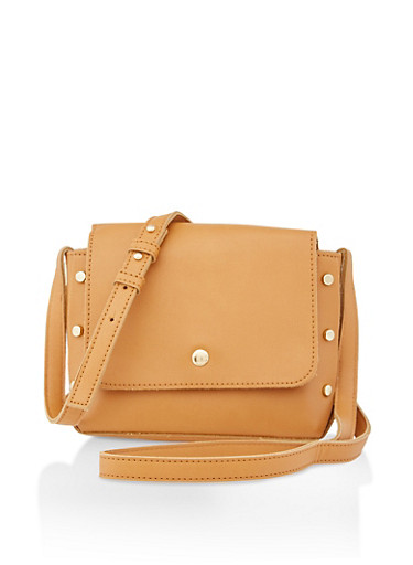 Small Studded Faux Leather Crossbody Bag,CAMEL,large
