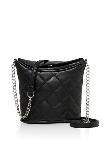 Quilted Crossbody Bucket Bag,BLACK,large