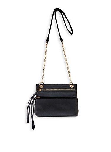 Double Front Zip Crossbody Bag,BLACK,large