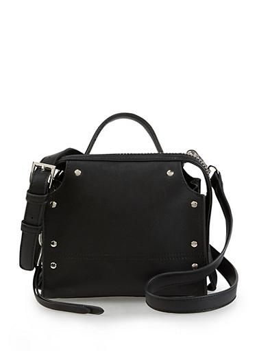 Studded Zip Around Crossbody Bag,BLACK,large
