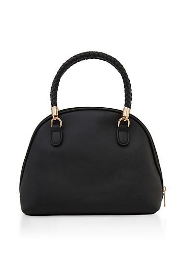 Woven Handle Faux Leather Handbag,BLACK,large