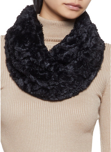 Faux Fur Infinity Scarf,BLACK,large