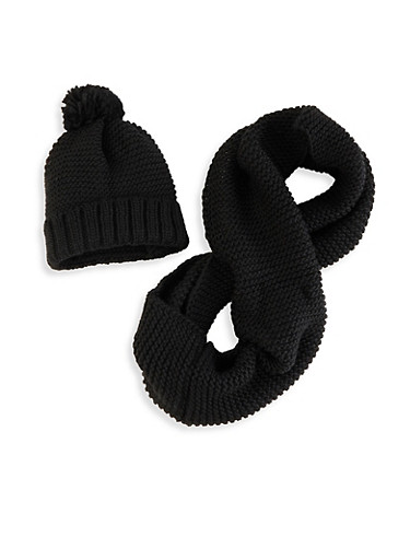 Knit Pom Pom Beanie and Infinity Scarf,BLACK,large