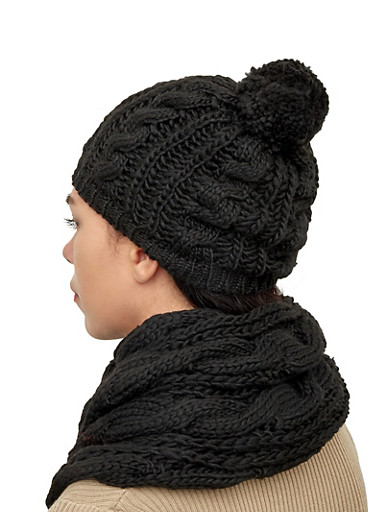 Knit Infinity Scarf and Pom Pom Beanie Set,BLACK,large