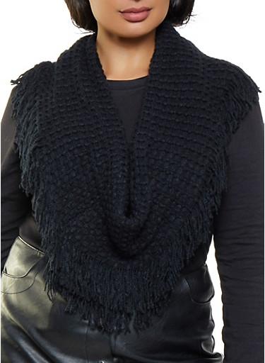 Knit Fringe Infinity Scarf,BLACK,large