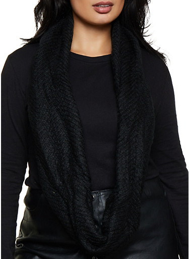 Solid Knit Infinity Scarf,BLACK,large
