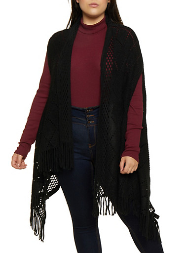 Fringe Knit Vest,BLACK,large