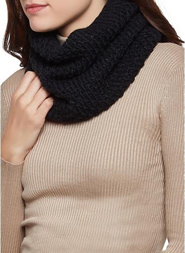 Knit Infinity Scarf,BLACK,large