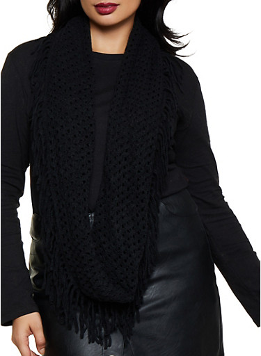 Perforated Fringe Infinity Scarf,BLACK,large