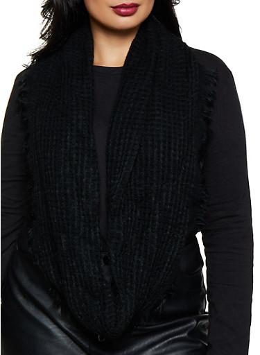 Frayed Knit Infinity Scarf,BLACK,large