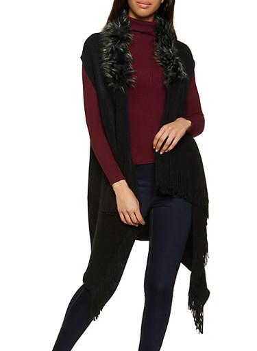 Faux Fur Collar Fringe Vest,BLACK,large