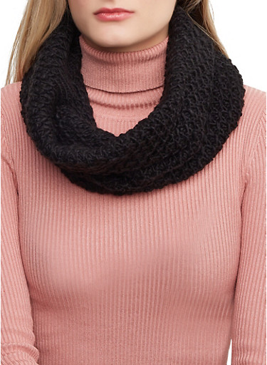Knit Snood,BLACK,large