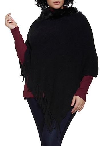 Faux Fur Trim Poncho,BLACK,large