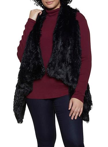 Asymmetrical Shaggy Faux Fur Vest,BLACK,large