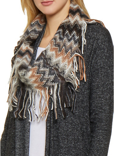 Chevron Knit Infinity Scarf,BLACK,large