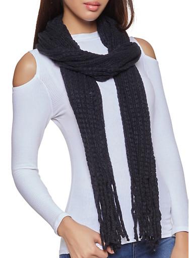 Long Knit Scarf,BLACK,large