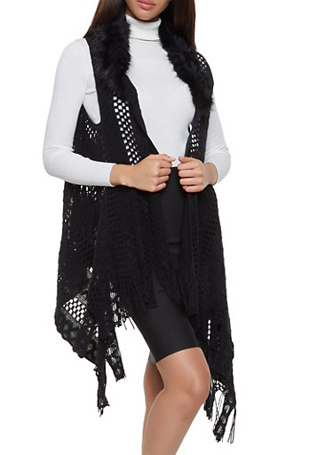 Faux Fur Collar Knit Flyaway Vest,BLACK,large