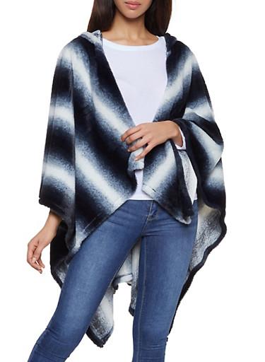Striped Faux Fur Hooded Shawl,BLACK,large