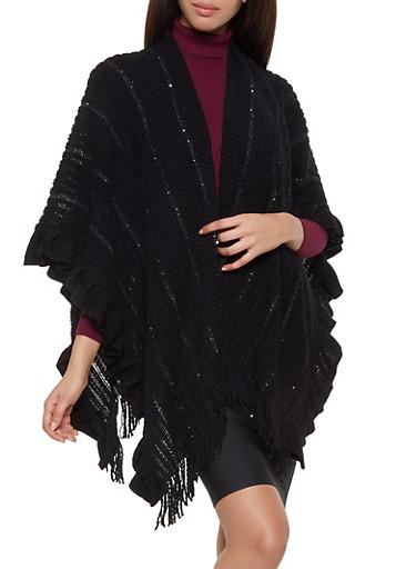 Ruffle Trim Sequin Knit Shawl,BLACK,large