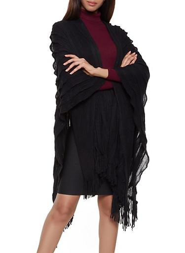 Pleated Knit Shawl,BLACK,large