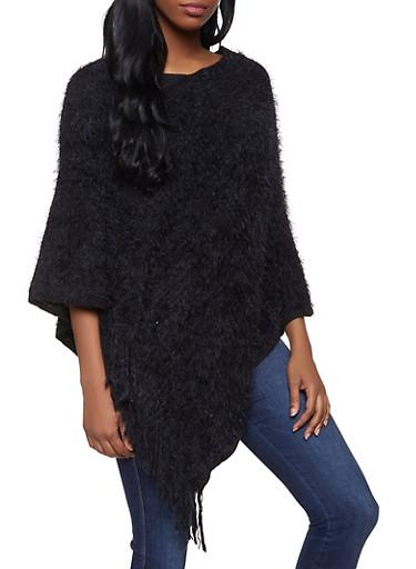 Feathered Knit Fringe Poncho,BLACK,large